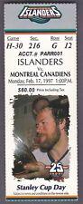 Feb. 17, 1997 New York Islanders vs. Montreal Canadiens Ticket Stub