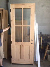 "Amish Style 36"" x 96"" 4 Lite Knotty Alder Entry Door"