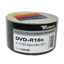 TRAXDATA DVD-R 16x 4.7GB INKJET PRINTABLE RECORDABLE DVDs 50 PIECE SPINDLE PACK