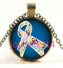 Vintage Colorful ribbon Cabochon Bronze Glass Chain Pendant Necklace TS-3595