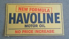 1950s NOS Texaco Havoline Motor Oil 3foot Heavy Cardboard Sign Quart Can Gas