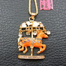 Lo ÚLTIMO adorable Naranja carrusel Esmalte Collar Colgante de Cristal Betsey Johnson