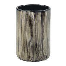 Porta spazzolini bagno arredo da appoggio in ceramica color nero/avorio