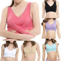 Women Seamless Cross Side Buckle Gathered Push Up Bra Sports Sleep Tops Yoga Bra