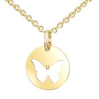 MATERIA Damen Halskette mit Anhänger Gold Schmetterling Kette 925 Silber 42+5cm