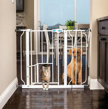 Wide Pet Gate with Door for Small Cats Dogs One Handed Open Adjustable Movable