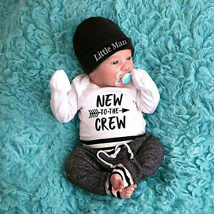 Newborn Baby Boy Clothes Letter Print Romper Tops +Long Pants+Hat 3PCS Outfit US