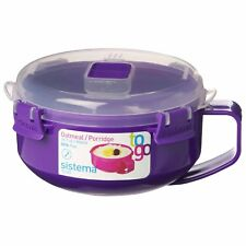 Sistema Purple Klip It Microwave Porridge to Go 850ml Breakfast Lunch Oatmeal