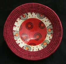 Swazi Ceramics Red Ceramic Bowl with Wicker by Stanley K. Made in Swaziland