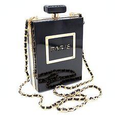 Women Acrylic Black Paris Perfume Shape Evening Bags Purses Clutch Vintage Black