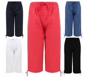 Ladies Womens Cotton 3/4 Pedal Shorts Harem Plus Size Summer Light Harem Capri
