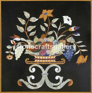 """18"""" Black Marble Top Coffee Table Fruit Basket Floral Inlay Bedroom Decors B042"""