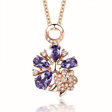 18K Rose Gold 3x5mm & 4x6mm Pear Shape Amethyst & Natural Diamond Pendant