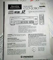 Pioneer CLD-2080 LaserDisc Remote Control Laser Disc LD CD Owners Manual Orig