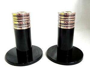 "Wedgwood Vera Wang VW With Love 4"" Pair Candle Sticks Holders Black Noir"