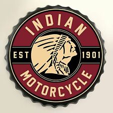 Indian Motorcycles Retro Oil Bottle Cap Wall Sign - Vintage Bar Garage