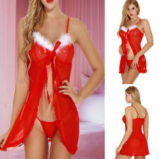 Women Sexy Sleepwear Red Lingerie Lace Night Dress Christmas Party Clothing