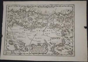 NORTH ALGERIA 1734 NICOLAS SANSON UNUSUAL ANTIQUE ORIGINAL COPPER ENGRAVED MAP