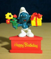 Smurf A Gram Happy Birthday Smurfs Figure Flowers Gift Vintage PVC Toy Figurine