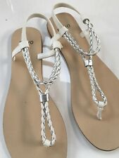 NOVO 'TONI' White & Silver OPEN TOE TBAR Gladiator Sandals SHOES SZ 7 New