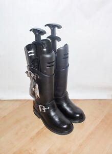 BNIB Caterpillar womens black leather biker winter boots size UK 3 EU 36