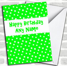 Lime Green & White Stars Birthday Customised Card