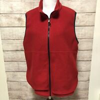 LL BEAN  Outdoors Women's Fleece Full Zip Red Fall Vest with collar Size Large