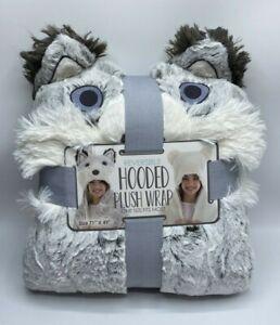 "Reversible Hooded Plush Wrap Throw Blanket Husky 71""x49"" Super Soft Cozy"