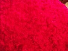 """Bright red fake fur fabric scrap piece approx 18"""" wide by 20"""" long"""
