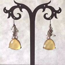 Boho Dangle Earrings Yellow Faceted Gem Copper Tone Faux Pearl Cluster Bead 1.5""