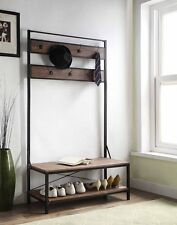 Vintage Dark Brown Entryway Shoe Bench with Coat Rack Hall Tree Storage 7 Hooks