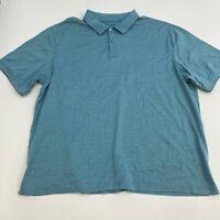 Haggar Polo Shirt Mens 3XL XXXL Blue Short Sleeve Button Up Collar Casual Polo