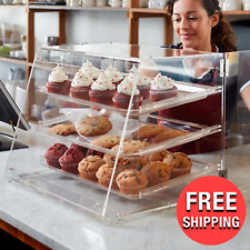 Pastry Bread Display Clear Acrylic Case Counter Food 3 Removable Tray Bakery