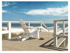 DANIEL POLLERA - Sun Deck - Art Print Beach Ocean Adirondack Chair Poster 34x26