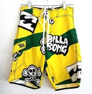 Billabong Yellow Green White Skull Board Shorts Swim Trunks Mens 29 Swimwear