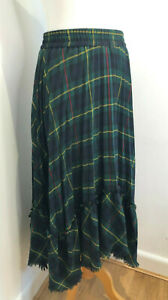 Zara Woman navy green tartan check tiered riffle midi skirt S 8 10 VGC classic