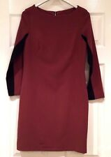 WALLIS JERSEY SHIFT DRESS SIZE 8 Long Sleeves Tan Brown & Black.