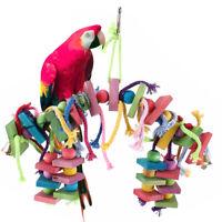 Large Parrot Pet Bird Toys Perch Budgie Cockatiel Lovebird Wooden Swing Ladder
