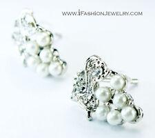 Silver White Grape Stud Earrings Wine Fruit Leaf Pearl Cocktail Fashion Jewelry