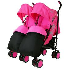 Double Pink Twin Stroller Pram Pushchair Buggy Complete Rain Cover Footmuff