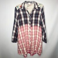 Philosophy Women's Shirt Dress Ombre Plaid Button Collar Embroidered Size Small