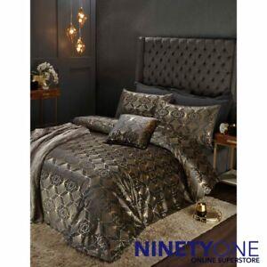 Charleston Metallic Velvet Gold & Black Duvet Cover Set Quilt Bedding Gatsby Bed