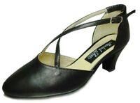 MONDIAL SHOES 2 scarpe da ballo donna tacco 50 basse pelle capretto nero