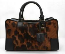 LOEWE Leopard-Print AMAZONA Ponyhair Black Leather Gold Pony Bag Purse Handbag