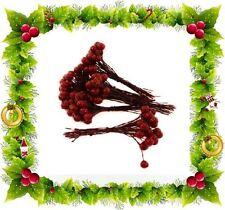 60 NATALE AGRIFOGLIO BACCHE SUL FILO decorazione albero festa ornamento CORONA STELI