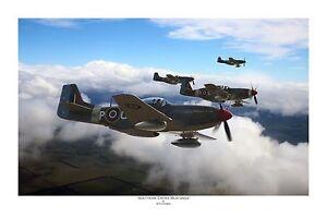 "WWII WW2 RAF RAAF P-51 Mustang Aviation Art Photo Print - 12"" X 18"""