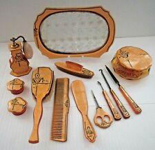 Vintage Celluloid Dresser Set - Vanity Items, Tray, Perfume Atomizer