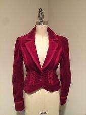WHITE HOUSE BLACK MARKET Merlot Stretch Victorian Velvet Collar Jacket Sz 00
