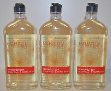3 BATH BODY WORKS AROMATHERAPY ENERGY ORANGE GINGER WASH FOAM SHOWER GEL BUBBLE