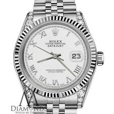 Rolex 31mm Datejust White color Roman Numeral Dial with Diamond 18K Gold Watch